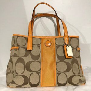 Handbags - New Coach Signature Stripe Khaki/Orange Spice Tote